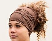 Buff - HeadBand - DreadBand - Hair Tube - Cowl - Cocoa Brown Head Hugger XL