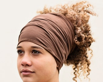 Buff - HeadBand - DreadBand - Hair Tube - Cowl - Cocoa Brown Head Hugger XL