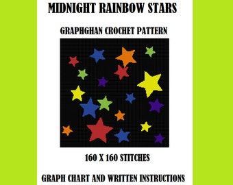 Midnight Rainbow Stars - Graphghan Crochet Pattern