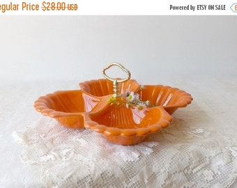 Mod California Pottery Orange Divided Serving Tray, Mid Century Snack Dish, Retro Kitchen Display