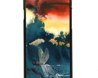 """Phone Case """"Red Sky in the Morning"""" - Watercolor Art Print Dragonfly Landscape Painting Crimson Red Dawn By Olga Cuttell"""