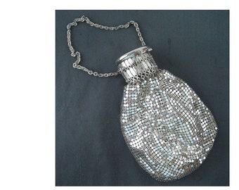 Small Silver Tone Mesh Evening Bag