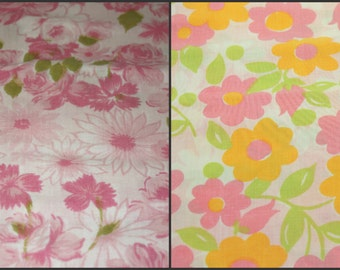 Fabric, reclaimed linen, reclaimed bed sheets, pink roses, orange and pink floral, two prints, sewing, quilting, home decor, crafting