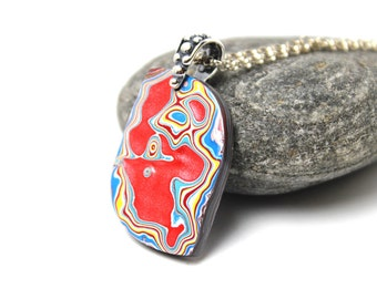 Detroit Fordite Necklace Recycled Vintage Auto Paint Red Yellow Sunset Fiery Flame Sky Blue Drop Medallion Sterling Silver Jet Black Rocker