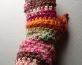 Neopolitan Fingerless Gloves Fabulous Brushed Acrylic Pink Green Orange Crochet Arm Warmers Mitts