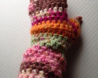 Neopolitan Fingerless Gloves Fabulous Brushed Acrylic Pink Green Orange Crochet Arm Warmers Mitts