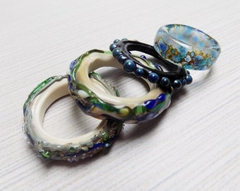 Lampwork glass rings