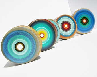 Set of 5 Modern Grey and Blue  Tree Ring Paintings on Reclaimed Sliced Wood Tree Rings by Tracy Melton