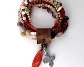 Bead & Leather Stretch Bracelet