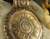 Celtic Sun Spiral in Bronze, Pendant,Sun Jewelry Necklace, Sun Jewelry