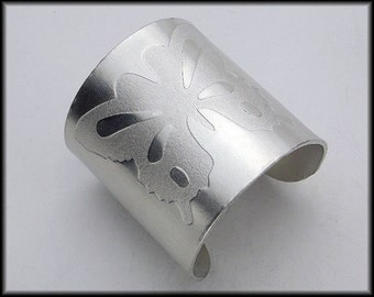 BUTTERFLY CUFF - Handforged Embossed Wide Pewter Cuff Bracelet