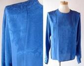 sale vtg Silk Blouse in Blue / vintage 1980s Pleated Silk Top / Button Back shirt / Anne Klein II / modern minimalist / Floral Jacquard s m