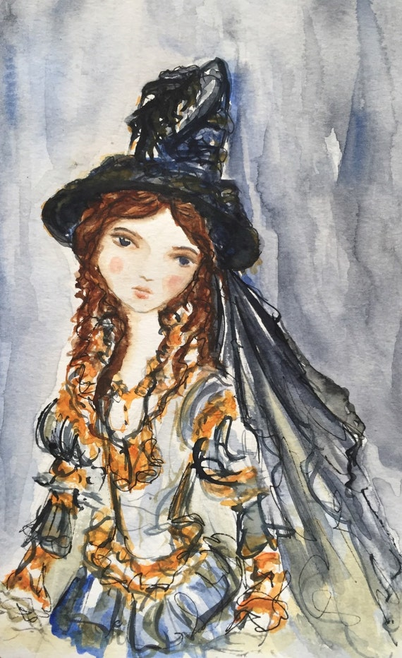 Gertie, original watercolor witch