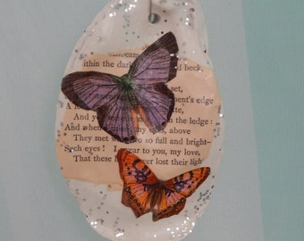 50% off Decoupage Oyster Shell/Butterfly/vintage Poem Book Page Ornament