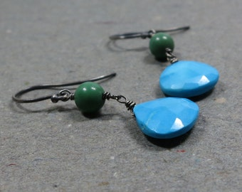 Blue Green Turquoise Earrings Oxidized Sterling Silver December Birthstone Earrings Gift for Girlfriend