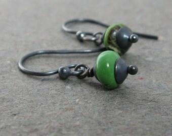 Gaspeite Earrings Petite Earrings Minimalist Earrings Oxidized Sterling Silver Earrings Apple Green Gemstone Earrings Rustic Earrings
