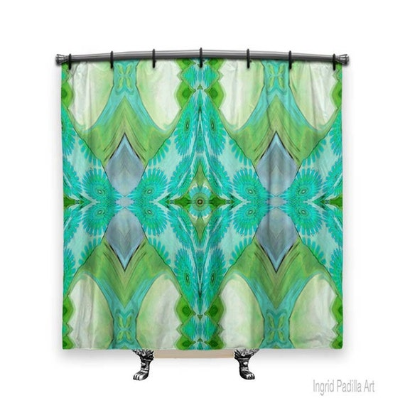 Shower curtain, Turquoise Shower curtain, Shower curtains, Fabric Shower Curtain, Boho, Shabby Chic shower curtain, shower curtain vintage