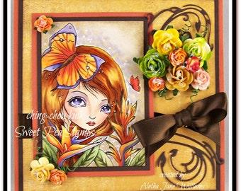 Bird of Paradise Handmade OOAK Fantasy Big Eye Art Greeting Art Card