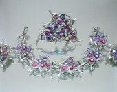 Sarah Coventry Dazzling Aurora Brooch Bracelet Earrings Set Vintage Unused