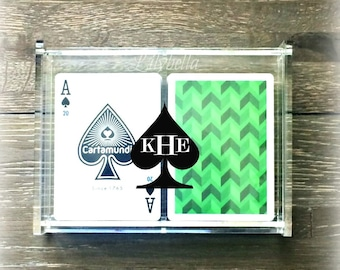Deck of Cards Storage Box - Personalized Playing Cards Box - Monogram Deck of Cards Holder - Acrylic Playing Cards Box - Acrylic Card Holder