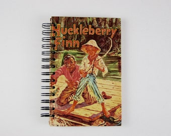 Huckleberry Finn- Recycled Book Journal, Notebook, Sketchbook, made from altered book