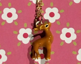 Tiny deer charm necklace