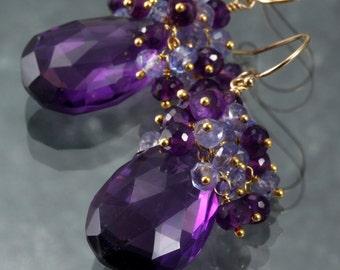 Amrthyst & Tanzanite Dangle Earrings - Cluster - Gemstone