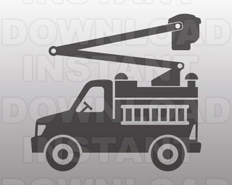 Cherry Picker SVG File,Lineman Truck SVG File,Utility SVG - Vector Clip Art for Commercial & Personal Use-svg for Cricut,Silhouette Cameo