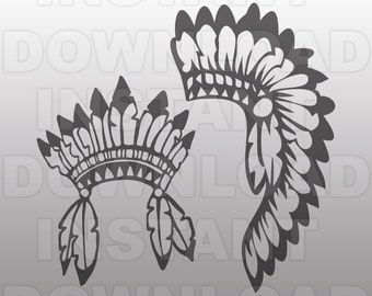 Indian headdress SVG File,Pow Wow Headdress SVG File,Western SVG File-Vector Clip Art for Commercial-Personal Use-Cricut,Cameo,Silhouette