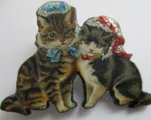 Cats in Glitter Lace Bonnets Brooch