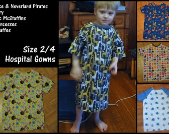 Hospital Gowns, size 2/4 Toddler, Ready to Ship. Finding Dory, Jake and the Neverland Pirates, Giraffes, Princesses, Doc McStuffins