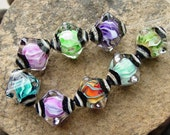 Twisted Crystals - Set of 8 Bi-Cone Crystal SRA Lampwork Beads