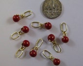 Red Sock Knitters Stitch Markers - On Gold Wire -  US 2 - Item No. 768