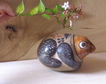 Vintage Mexican Tonala Stoneware Frog, Burnished Folk Art Pottery Figurine Signed