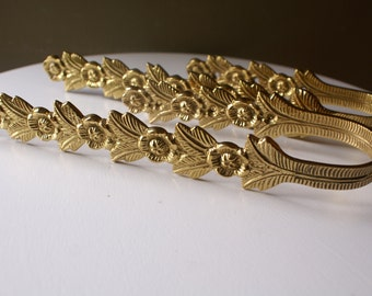 Solid Brass Floral Curtain Tie Backs, Flower Paterrn