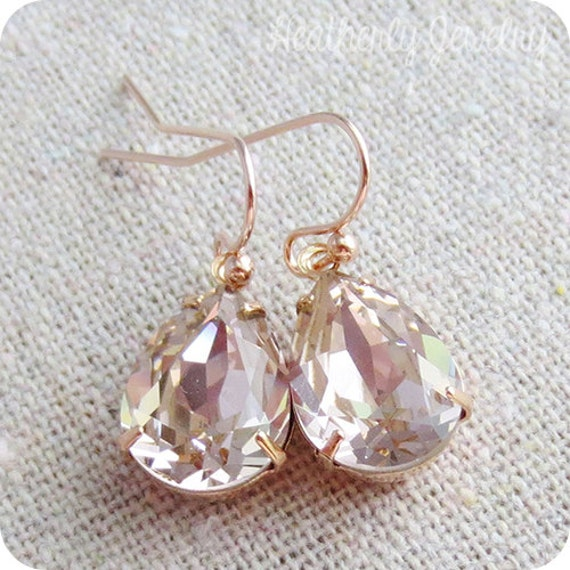 Swarovski drop earrings in blush