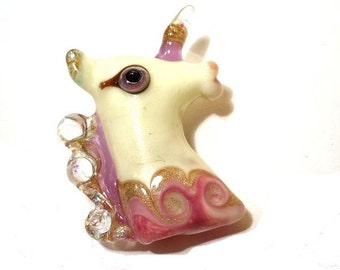 Unicorn bead necklace, Lampwork Glass Beads, pink & white handmade focal bead, jewelry supplies with horn, SRAJD, lamp work glass bead