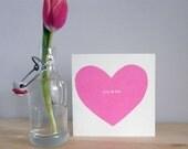 "Big Heart ""you & me"" Valentine card - rose pink"