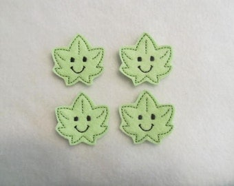 4 Felt LEAF Applique Embellishments Style BB