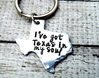 Texas-keychain- texas keychain-handstamped keychain-personalized key chain-ive got texas in my soul- -texas gift-gift for texan