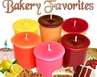 6 Bakery Favorites Votive Candles Variety Pack Cakes and Cookies Scents