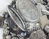 RESERVED FOR Iuli - Half Off Sale Hand Mirror - Locket of Love - Repurposed Jewelry - M001020