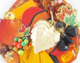 HALF OFF Sale - Hand Mirror - Autumn Farewell - Repurposed Jewelry - M000684