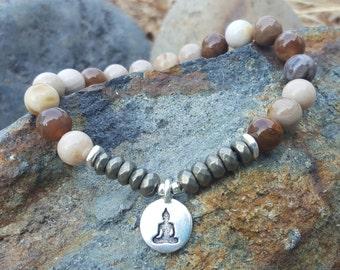 Grounding Energy Buddha Bracelet - Wood Opalite Gemstone Stretch Yoga Bracelet