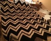 Loopy Ripple Black and Brown Afghan/Blanket/Throw