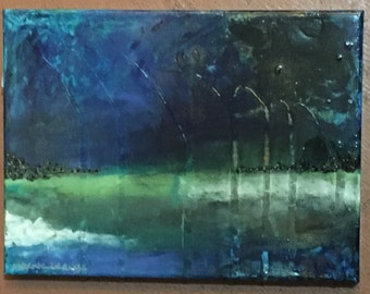 Storm at the Pass 2 - mixed media painting by Maxine Orange