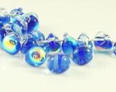 40% Off Sale 10mm Unicorne Tear Drop Lampwork Beads - Blue My Mind - 4 Pieces - 21995