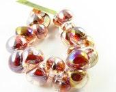 40% Off Sale NEW - 10mm Unicorne Tear Drop Lampwork Beads - Dark Rainbow 4 Pieces - 22256