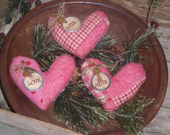 3 Primitive Pink Patchwork Hearts LOVE KISS Be MINE Valentine February 14 Fabric Heart Bowl Fillers Ornies Ornaments Tucks Pillows