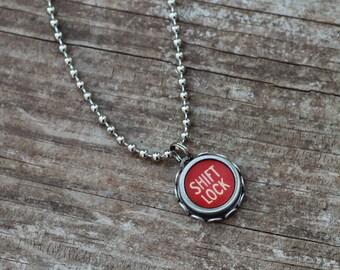 Shift Typewriter Necklace, Teacher Necklace, Writer Gift,